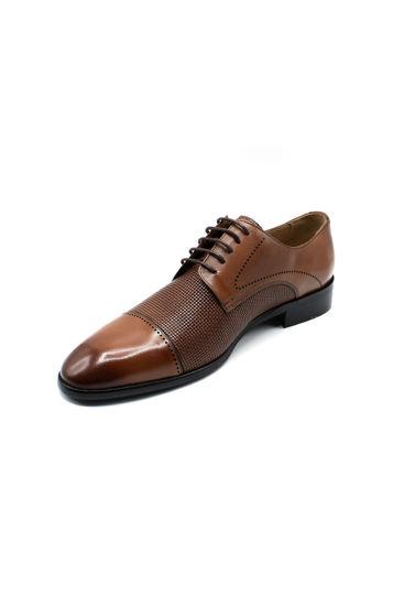 Fosco Lazerli Bağlı Klasik Erkek Ayakkabı TABA resmi