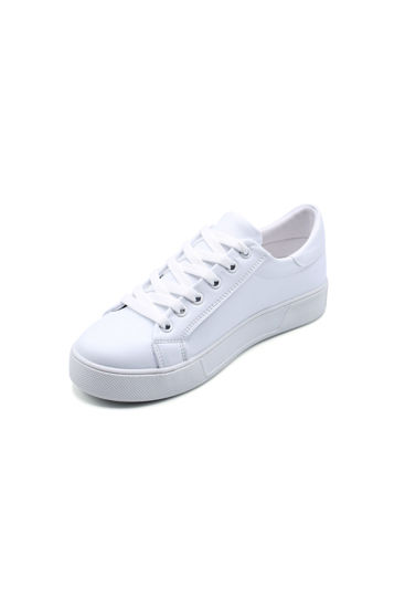 Endless Düz Bağlı Sneaker Ayakkabı BEYAZ KEDİ resmi