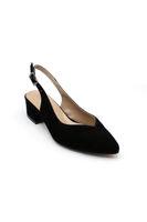 Selsan Cyln Arkası Açık Alçak Topuk Ayakkabı SİYAH SÜET