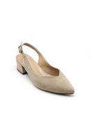 Selsan Cyln Arkası Açık Alçak Topuk Ayakkabı VİZON SÜET