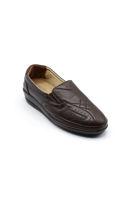 Selsan Pabuş Baklava Desenli Deri Rahat Ayakkabı KAHVE