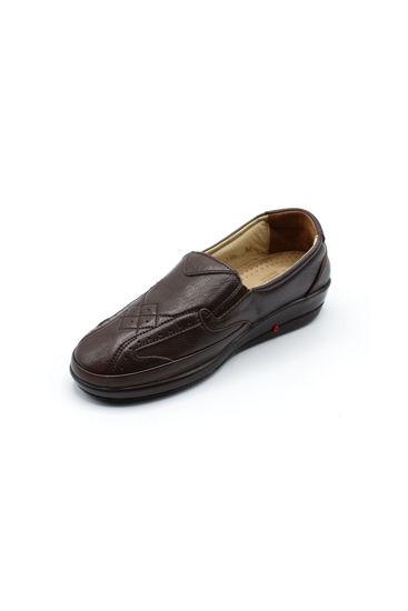 Selsan Pabuş Baklava Desenli Deri Rahat Ayakkabı KAHVE resmi