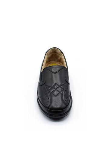 Selsan Pabuş Baklava Desenli Deri Rahat Ayakkabı SİYAH resmi