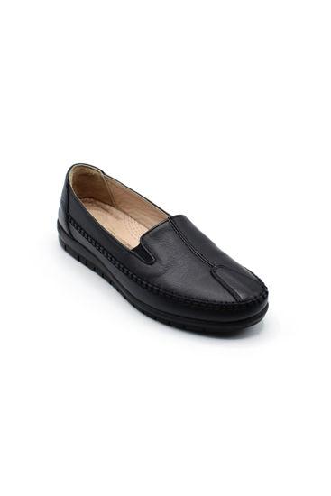 Selsan Pabuş Deri Rahat Babet Ayakkabı SİYAH resmi