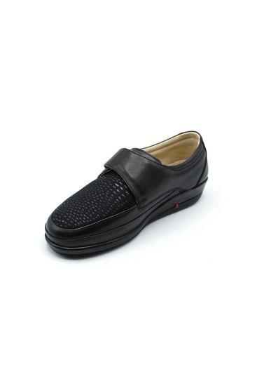 Selsan Pabuş Streç Cırtlı Deri Rahat Ayakkabı SİYAH resmi