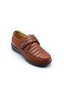 Selsan Pabuş Rahat Deri Cırtlı Ayakkabı TABA
