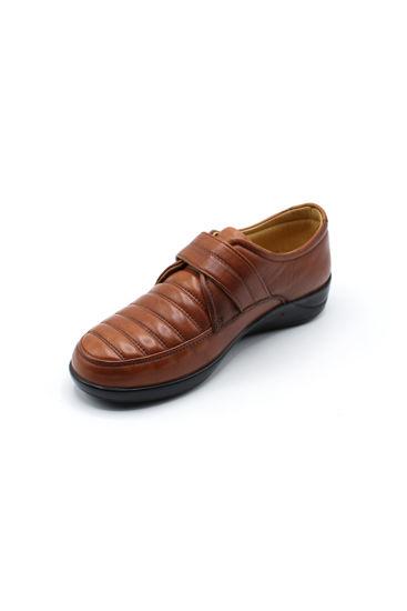Selsan Pabuş Rahat Deri Cırtlı Ayakkabı TABA resmi