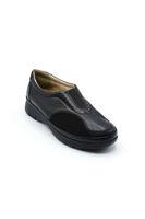 Selsan Pabuş Deri Streçli Rahat Ayakkabı SİYAH