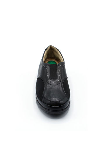 Selsan Pabuş Deri Streçli Rahat Ayakkabı SİYAH resmi