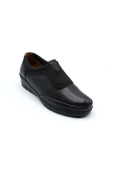 Selsan Pabuş Streç Deri Rahat Ayakkabı SİYAH resmi