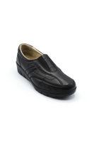 Selsan Pabuş V Lastikli Deri Rahat Ayakkabı SİYAH
