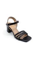 Selsan Özr 3 Şeritli Alçak Topuk Sandalet SİYAH