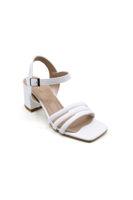 Selsan Özr 3 Şeritli Alçak Topuk Sandalet BEYAZ