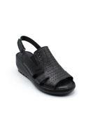 Selsan Bal Yüzeyi Delikli Cırlı Dolgu Sandalet SİYAH