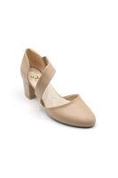 Selsan Cyl Yandan Lastikli Alçak Topuklu Ayakkabı TEN