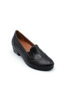 Selsan Uls Deri Rahat Alçak Topuk Oxford Ayakkabı SİYAH