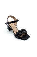 Özer Örgülü Topuklu Sandalet SİYAH