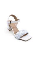 Özer Örgülü Topuklu Sandalet BEYAZ