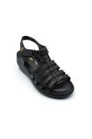 Selsan Ayakkabı Cırtlı Kemerli Dolgu Rahat Sandale SİYAH
