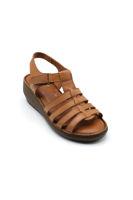 Selsan Ayakkabı Cırtlı Kemerli Dolgu Rahat Sandale TABA