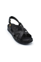 Selsan Ayakkabı Deri Bantlı Cırtlı Rahat Sandalet SİYAH