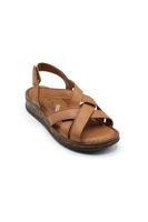 Selsan Ayakkabı Deri Bantlı Cırtlı Rahat Sandalet TABA