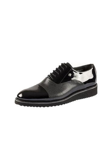 Fosco Bağlı Klasik Erkek Ayakkabı SİYAH RUGAN resmi