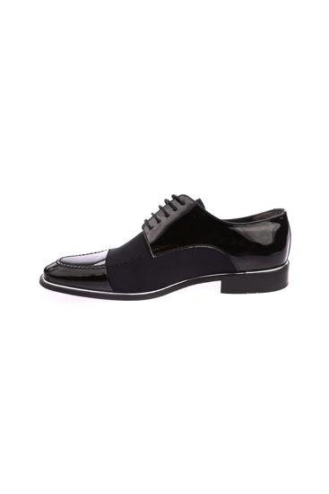 Fosco Bağlı Rugan Streç Erkek Ayakkabı SİYAH SATEN resmi