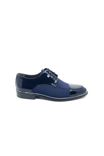 Fosco Bağlı Rugan Streç Erkek Ayakkabı LACİVERT SATEN resmi