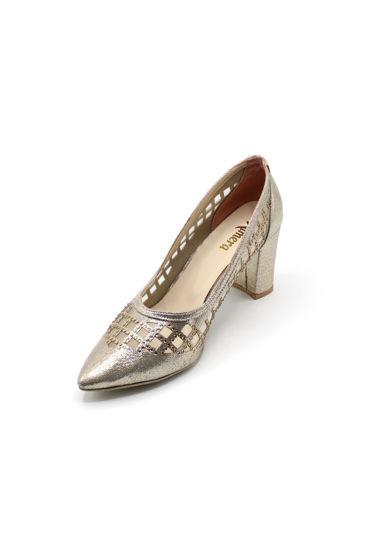 Selsan Almera Lazer Fileli Kalın Topuk Ayakkabı DORE SİMLİ resmi