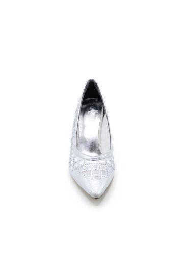 Selsan Almera Lazer Fileli Kalın Topuk Ayakkabı GÜMÜŞ SİMLİ resmi