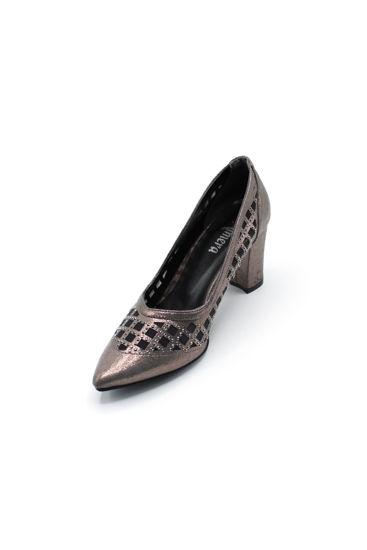 Selsan Almera Lazer Fileli Kalın Topuk Ayakkabı PLATİN SİM resmi