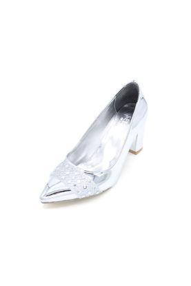 Selsan Almera Burnu Taşlı Klasik Kadın Ayakkabı GÜMÜŞ AYNALI resmi