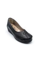 Selsan Edik Desenli Rahat Kadın Ayakkabı SİYAH