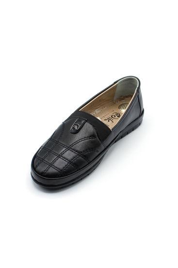 Selsan Edik Lastikli Desenli Rahat Ayakkabı SİYAH resmi