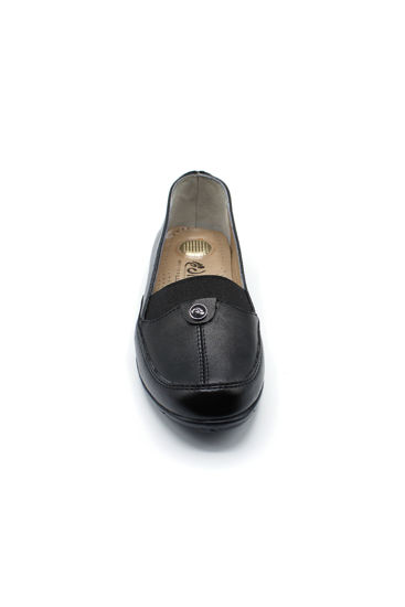 Selsan Edik Lastikli Rahat Kadın Ayakkabı SİYAH resmi