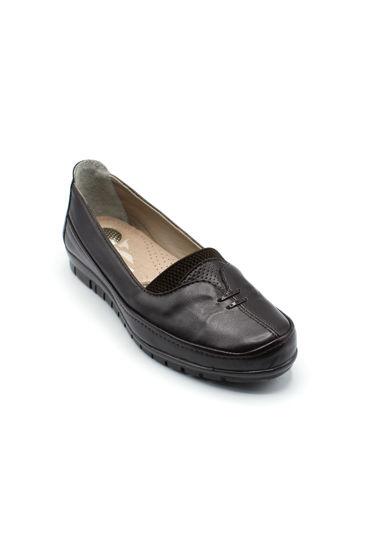 Selsan Edik Önü Çift Biyeli Rahat Kadın Ayakkabı KAHVE resmi