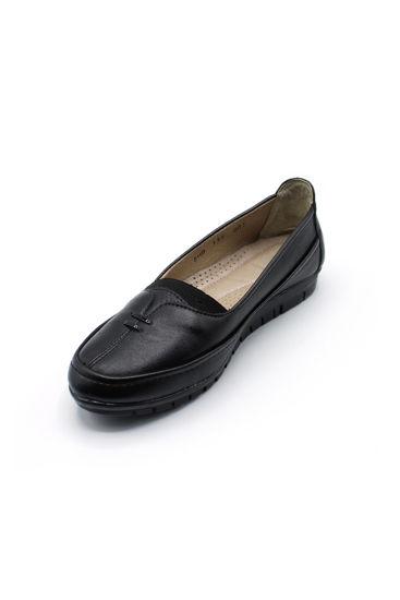 Selsan Edik Önü Çift Biyeli Rahat Kadın Ayakkabı SİYAH resmi