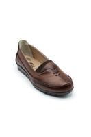 Selsan Edik Önü Çift Biyeli Rahat Kadın Ayakkabı TABA