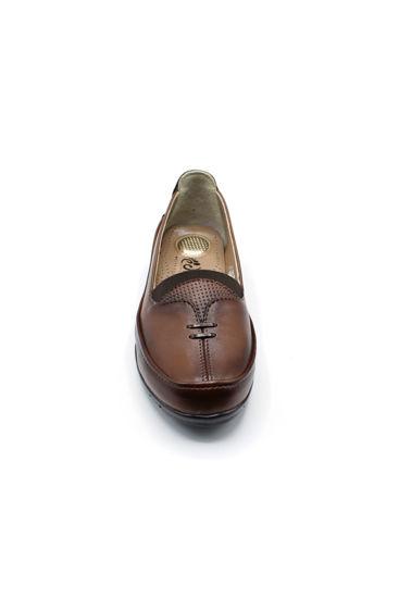 Selsan Edik Önü Çift Biyeli Rahat Kadın Ayakkabı TABA resmi