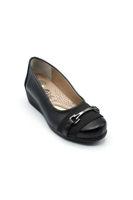 Selsan Edik Önü Tokalı Rahat Kadın Ayakkabı SİYAH