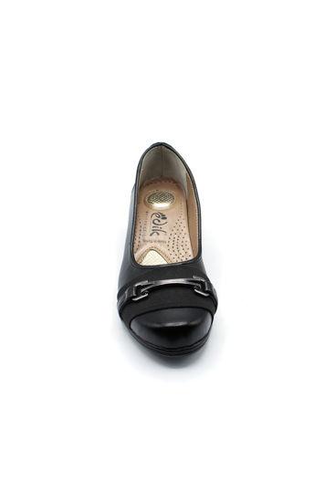 Selsan Edik Önü Tokalı Rahat Kadın Ayakkabı SİYAH resmi