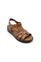 Selsan Blkr Cırtlı Deri Rahat Kadın Sandalet TABA