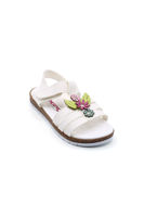 Selsan Ortası Renkli Çiçekli Sandalet BEYAZ