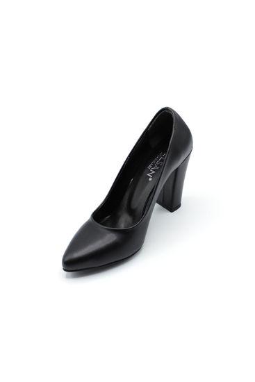 Selsan Almera Kalın Topuk Stiletto Kadın Ayakkabı SİYAH MAT resmi