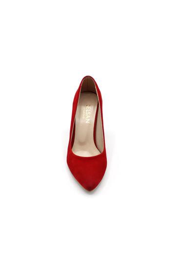 Selsan Almera Kalın Topuk Stiletto Kadın Ayakkabı KIRMIZI SÜET resmi