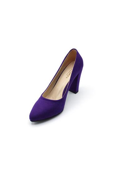 Selsan Almera Kalın Topuk Stiletto Kadın Ayakkabı MOR SÜET resmi