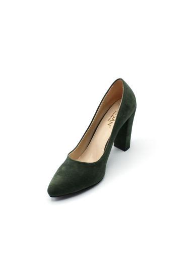Selsan Almera Kalın Topuk Stiletto Kadın Ayakkabı HAKI resmi