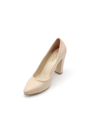 Selsan Almera Kalın Topuk Stiletto Kadın Ayakkabı TEN MAT resmi