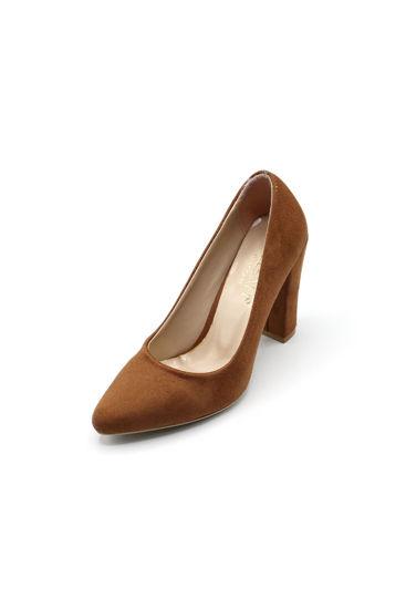 Selsan Almera Kalın Topuk Stiletto Kadın Ayakkabı TABA SÜET resmi